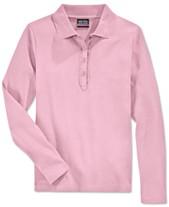 e572752c1 Nautica School Uniform Ruffled Long-Sleeve Polo Shirt, Big Girls Plus