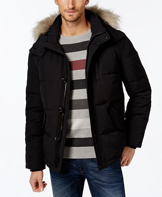Calvin Klein Men's Faux-Fur-Lined Hooded Coat - Coats & Jackets ...