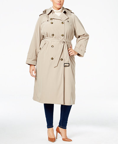 London Fog Plus Size Double Breasted Hooded Trench Coat