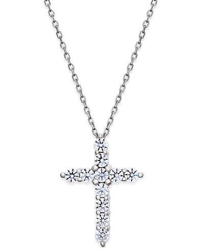 Diamond Cross Pendant Necklace (1/2 ct. t.w.) in 14k White Gold