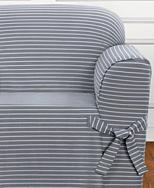 Sure Fit Horizontal Club Stripe One-Piece Straight Skirt with Cord Chair Slipcover