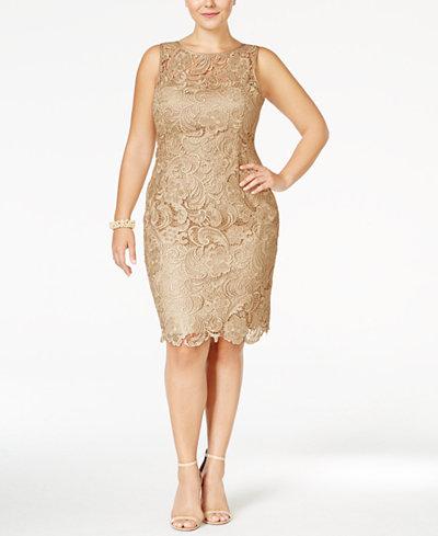 Adrianna Papell Plus Size Dress, Sleeveless Lace Sheath ...