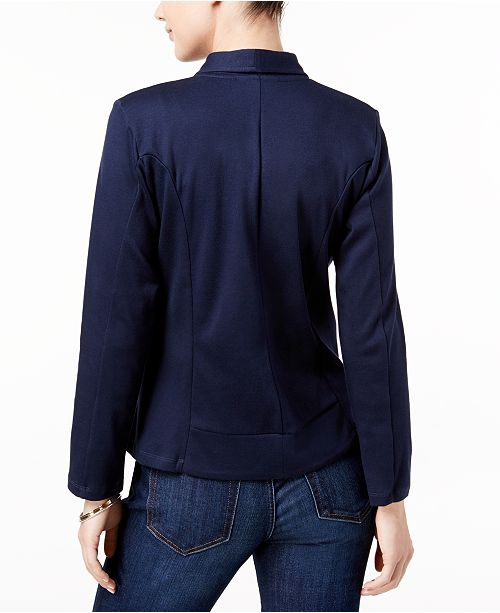 women long dvjilzxl dp pocket draped jacket solid sleeve front with casual blazer black tobrief open drapes