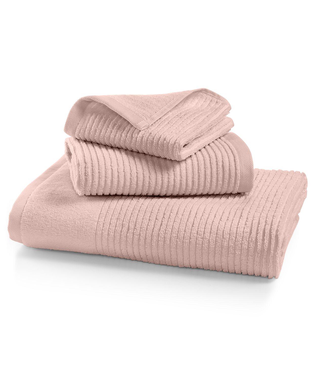 Pink ribbed bath towels by Martha Stewart