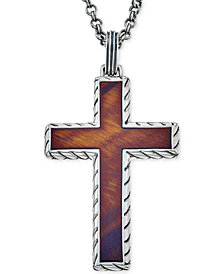Esquire Men's Jewelry Red Tiger Eye (40 x 27-1/2mm) Cross Pendant Necklace in Sterling Silver, Created for Macy's