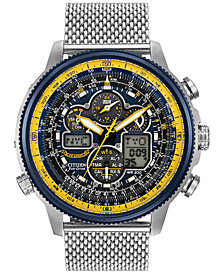 Citizen Men's Analog-Digital Chronograph Eco-Drive Navihawk A-T Stainless Steel Mesh Bracelet Watch 48mm JY8031-56L
