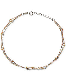 Tri-Tone Beaded Ankle Bracelet in 14k White, Yellow and Rose Gold
