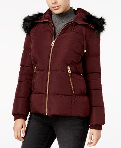 GUESS Faux-Fur-Trim Hooded Down Puffer Coat - Coats - Women - Macy's