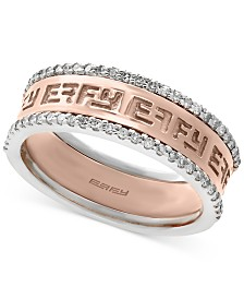 EFFY® Diamond Band (1/4 ct. t.w.) in 14k White and Rose Gold