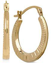 Ribbed-Style Hoop Earrings in 10k Gold