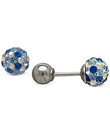 Children's Blue Crystal Ball Stud Reversible Earrings in 14k White Gold