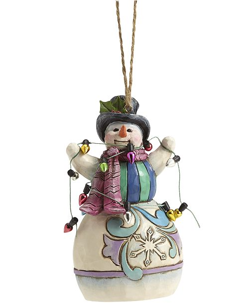 Enesco Jim Shore Snowman Wrapped in Lights Collectible Ornament