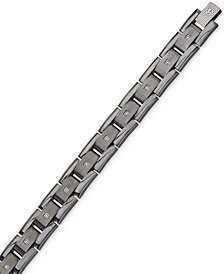 Esquire Men's Jewelry Diamond Bracelet (1/10 ct. t.w.) in Gunmetal IP over Stainless Steel, Created for Macy's