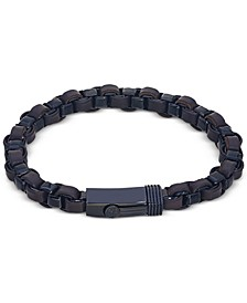 Leather Woven Bracelet in Ion-Plated Stainless Steel, Created for Macy's