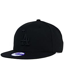 Kids' Los Angeles Dodgers Black on Black 9FIFTY Snapback Cap