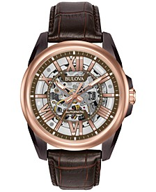 Men's Automatic Chronograph Precisionist Brown Leather Strap Watch 45mm 98A165
