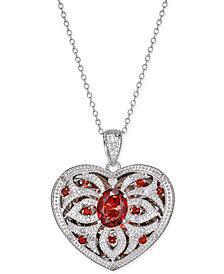 Garnet (2 ct. t.w.) and Diamond (1/10 ct. t.w.) Locket Pendant Necklace