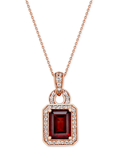 Garnet (1-3/4 ct. t.w.) and White Sapphire (1/4 ct. t.w.) Pendant Necklace in 14k Rose Gold