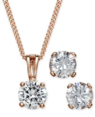Charter Club Rose Gold-Tone Cubic Zirconia Pendant Necklace and Earrings Set, Created for Macy's
