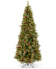 "7.5' ""Feel-Real"" Colonial Slim Hinged Christmas Tree with 400 Clear Lights"