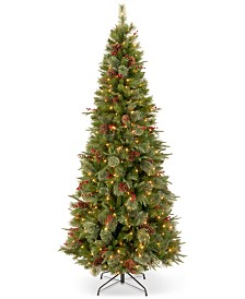 "National Tree Company 7.5' ""Feel-Real"" Colonial Slim Hinged Christmas Tree with 400 Clear Lights"