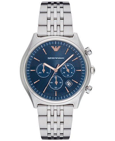 Emporia Armani Men's Chronograph Stainless Steel Bracelet Watch 43mm AR1974