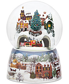 Roman Musical Revolving Train Snow Globe with Winter Scene Base