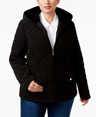 Laundry By Design Plus Size Faux Fur Lined Hooded Quilted Jacket