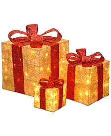 """6"""", 10"""" & 14"""" Assorted Gold Sisal Gift Boxes wwith Clear Lights"""