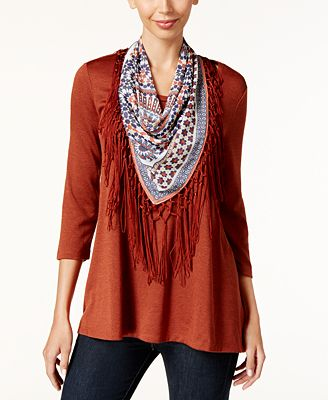 style co top with printed scarf created for macy s