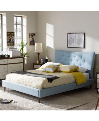 Jerell Modern King Linen Platform Bed, Quick Ship