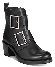 Frye Women's Sabrina Double Buckle Moto Booties