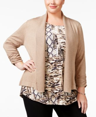 JM Collection Plus Size Ruched-Sleeve Cardigan, Only at Macy's