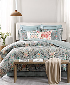 Echo Sterling Floral-Damask Twin Reversible Duvet Set