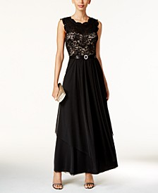 Sequined Lace Chiffon Gown
