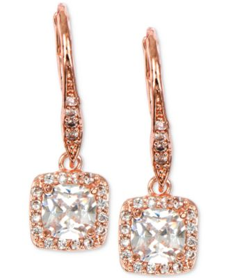 Image of Anne Klein Rose Gold-Tone Square Crystal Drop Earrings