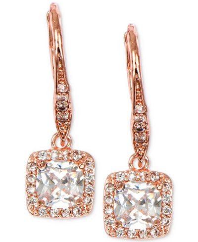 Anne Klein Rose Gold-Tone Square Crystal Drop Earrings