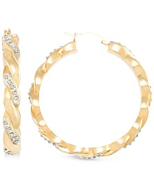 Signature Diamonds™ Twist Hoop Earrings in 14k Gold over Resin Core Diamond and Crystallized Diamond Dust