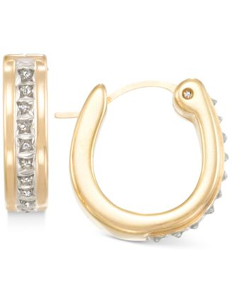 Signature Diamonds Hoop Earrings in 14k Gold over Resin Core