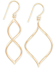 Twisted Wire Drop Earrings in 10k Gold