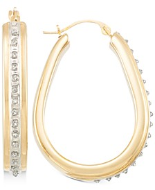 Signature Diamonds™ Pear Hoop Earrings in 14k Gold over Resin Core Diamond and Crystallized Diamond Dust