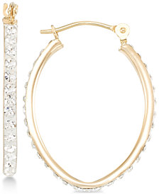 Crystal Pavé Tapered Hoop Earring in 10k Gold
