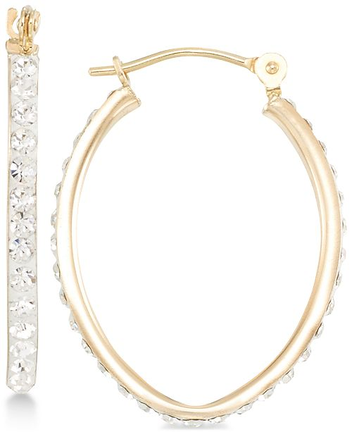 Macy's Crystal Pavé Tapered Hoop Earring in 10k Gold