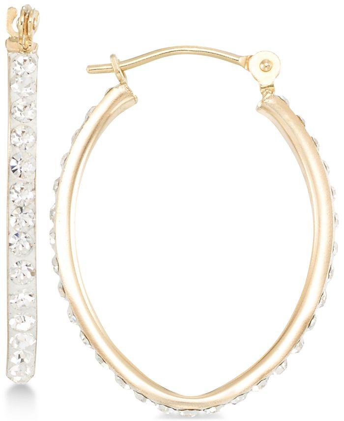 Macy's - Crystal Pavé Tapered Hoop Earring in 10k Gold