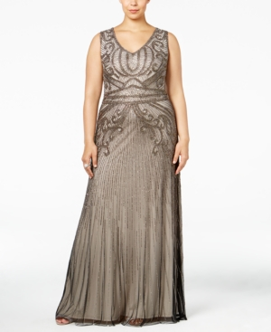 1920s Plus Size Dresses Adrianna Papell Plus Size Beaded A-Line Gown $299.99 AT vintagedancer.com