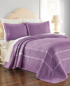 CLOSEOUT! Martha Stewart Collection Cotton Flowering Trellis Iris Queen Bedspread, Created for Macy's