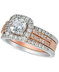 Diamond Halo Bridal Set (1-5/8 ct. t.w.) in 14k White and Rose Gold