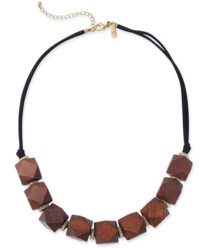INC International Concepts Gold-Tone and Geometric Wood Statement Necklace, Only at