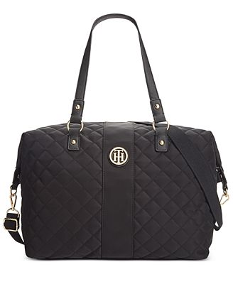 tommy hilfiger quilted nylon isla weekender handbags accessories macy 39 s. Black Bedroom Furniture Sets. Home Design Ideas