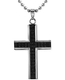 Men's Diamond Cross Pendant Necklace (1/2 ct. t.w.) in Stainless Steel with Rhodium Plating